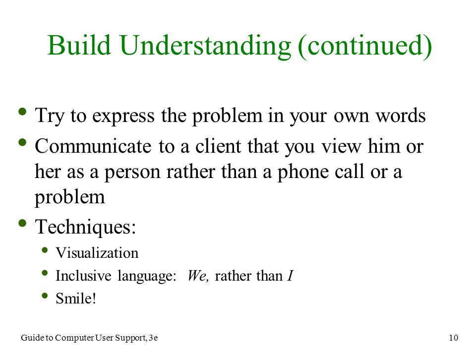 Build Understanding (continued)