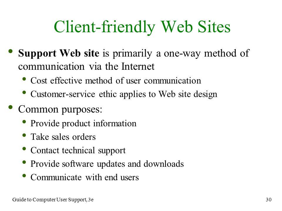 Client-friendly Web Sites