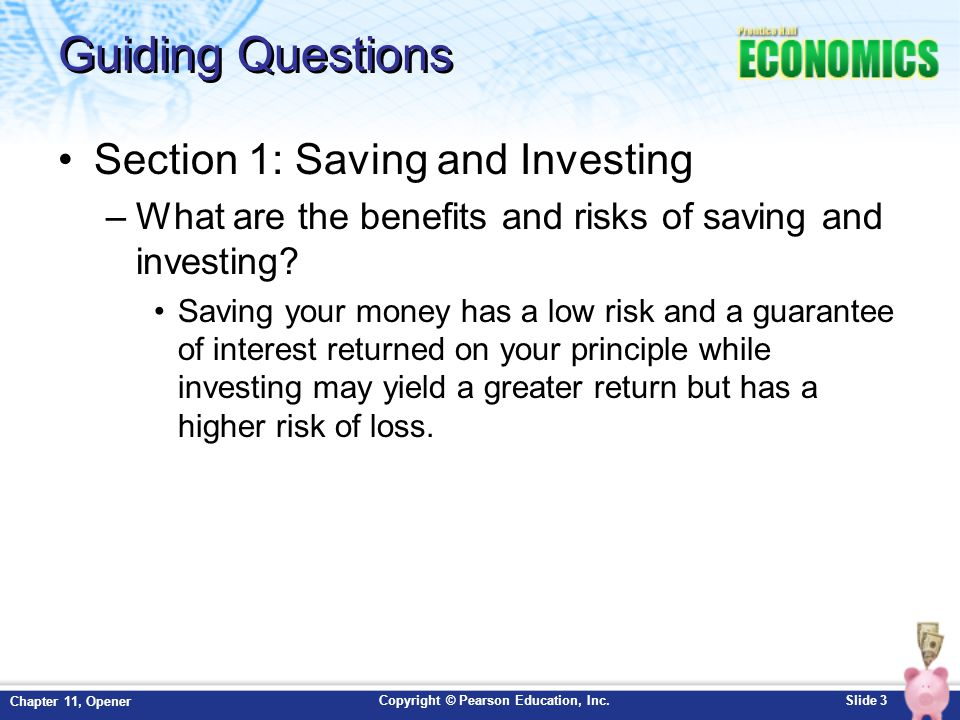Guiding Questions Section 1: Saving and Investing