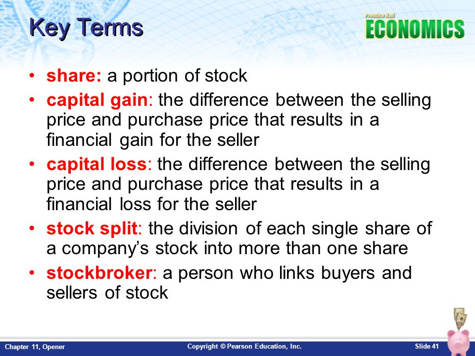 Key Terms share: a portion of stock