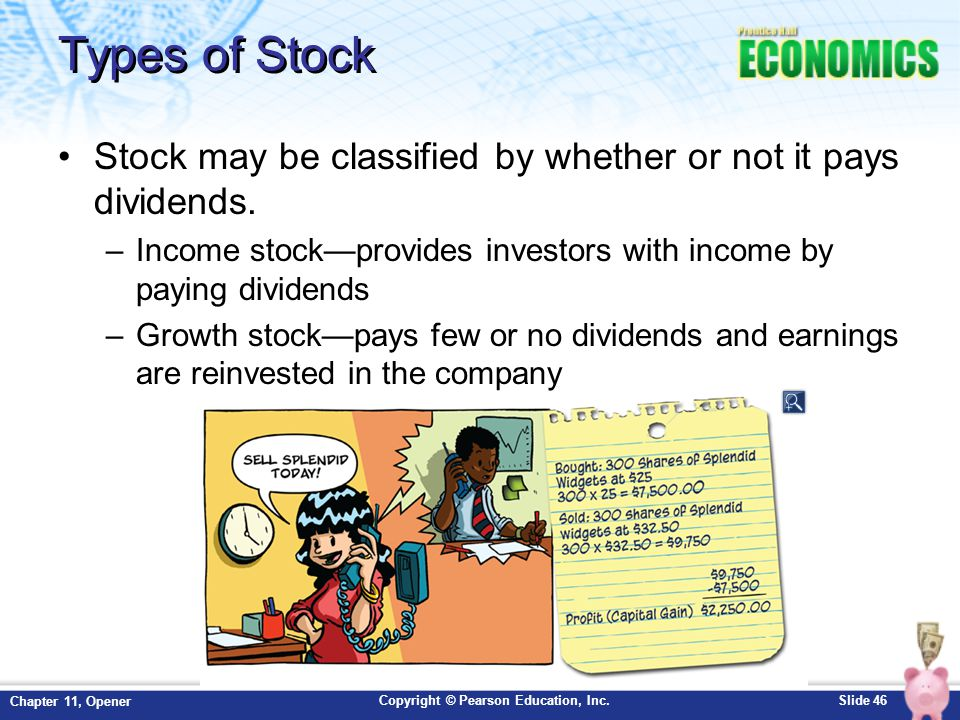 Types of Stock Stock may be classified by whether or not it pays dividends. Income stock—provides investors with income by paying dividends.