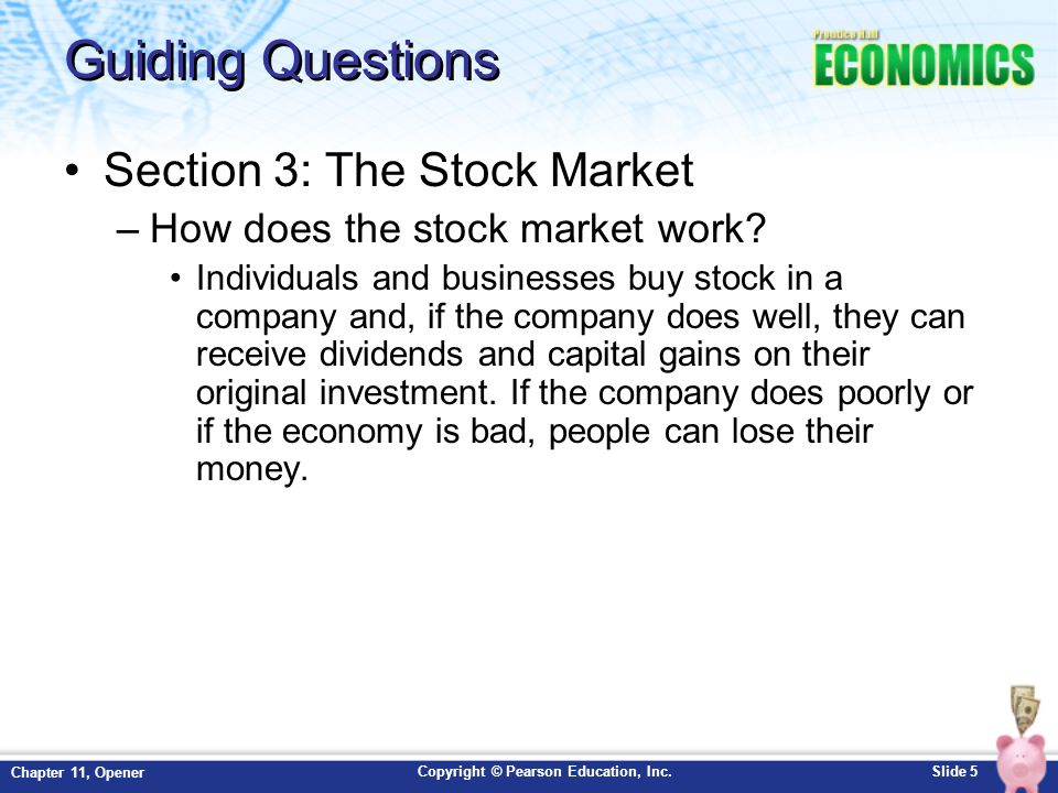 Guiding Questions Section 3: The Stock Market