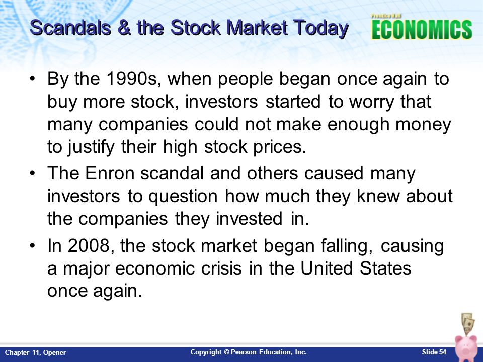 Scandals & the Stock Market Today