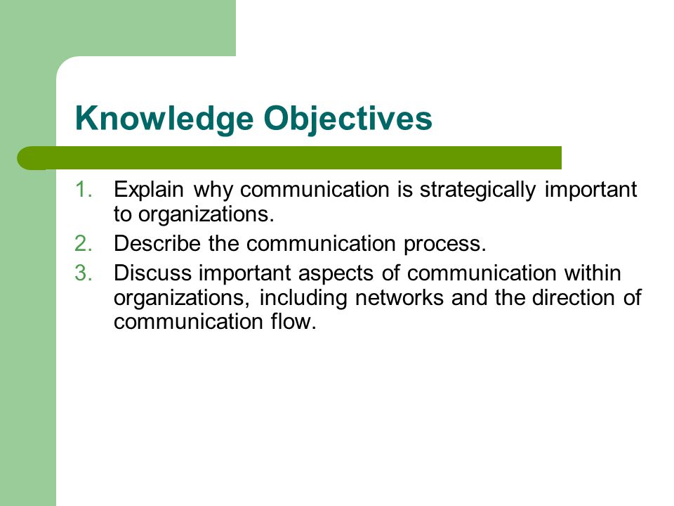 Knowledge Objectives Explain why communication is strategically important to organizations. Describe the communication process.