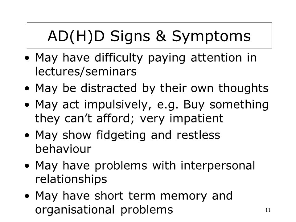 AD(H)D signs & Symptoms