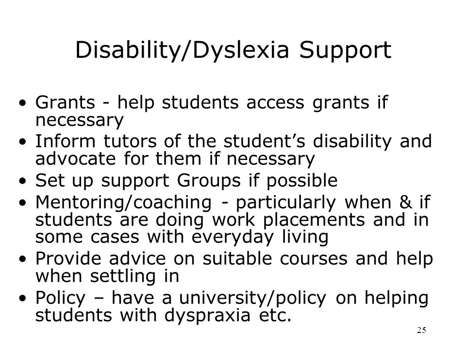 Disability/Dyslexia Support