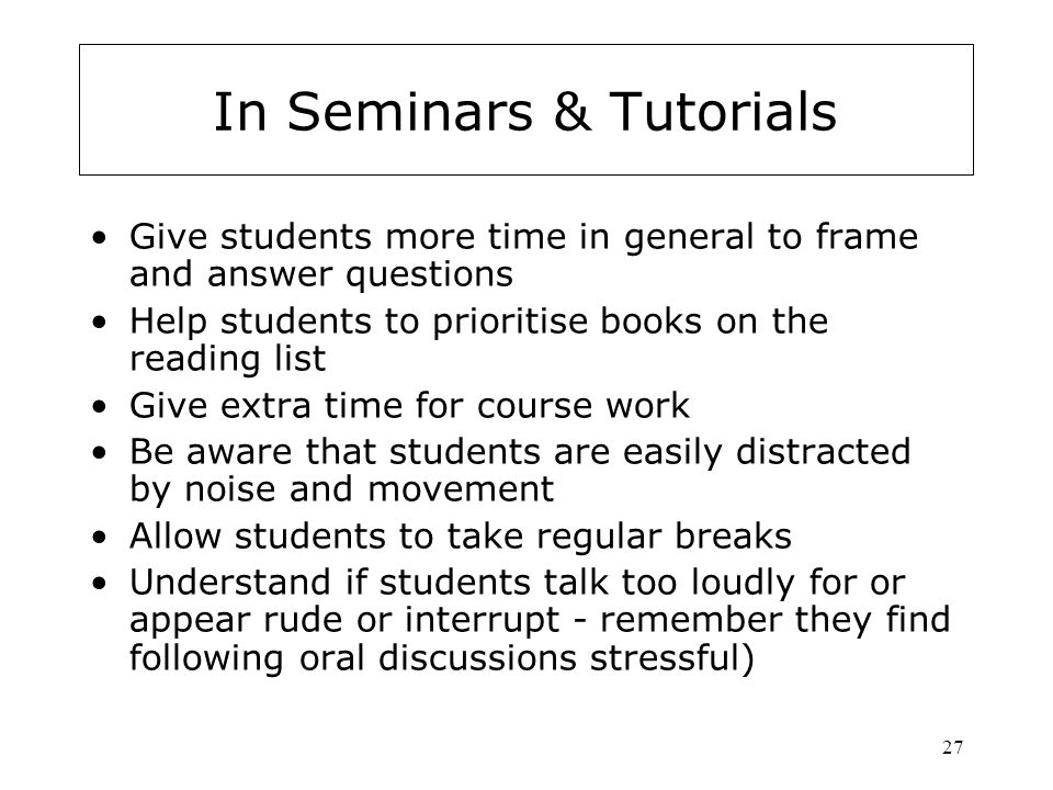 In Seminars & Tutorials