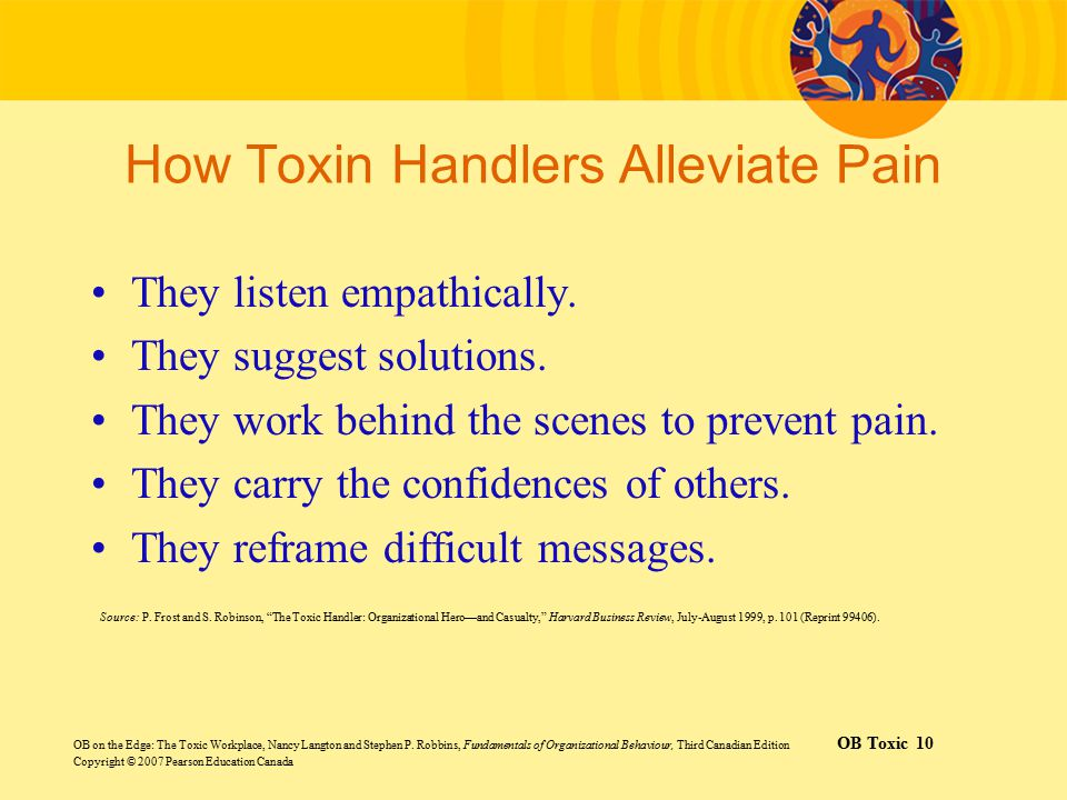 How Toxin Handlers Alleviate Pain