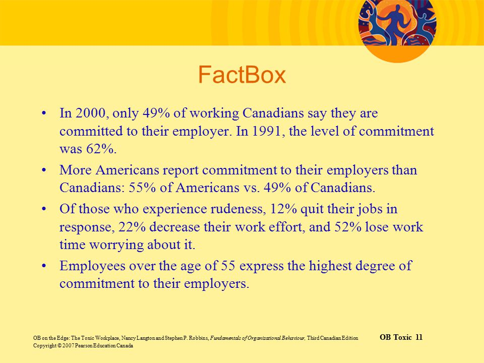 FactBox In 2000, only 49% of working Canadians say they are committed to their employer. In 1991, the level of commitment was 62%.