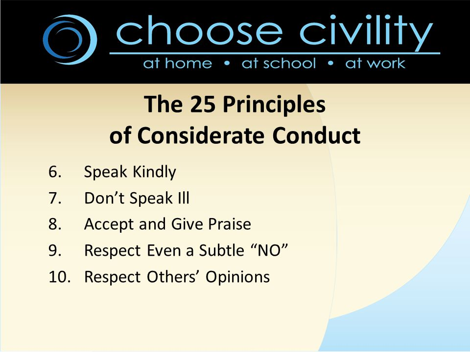 The 25 Principles of Considerate Conduct