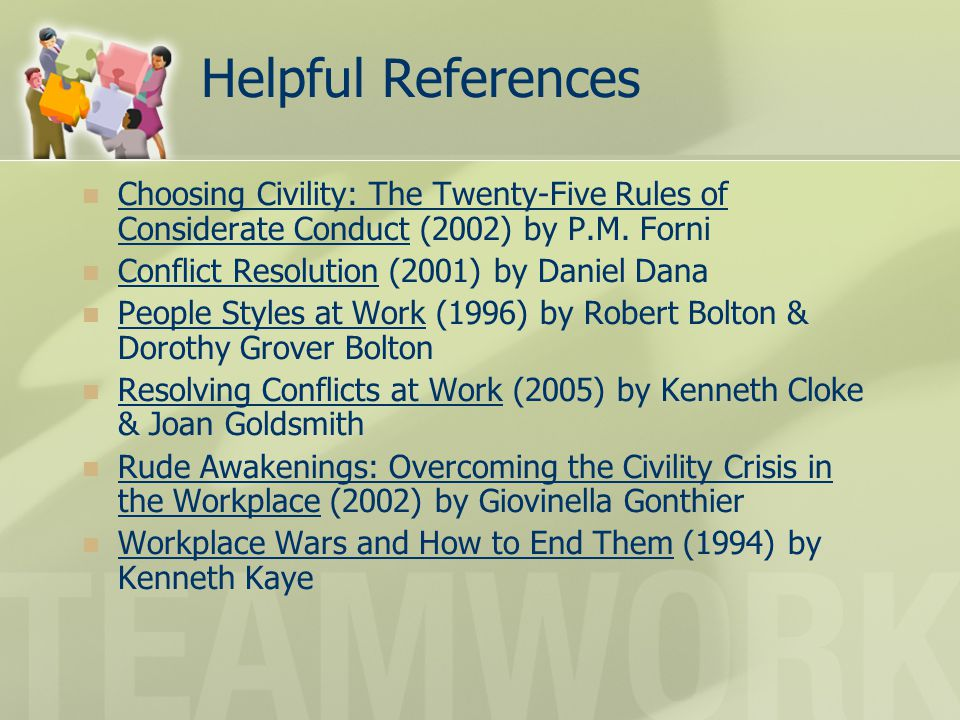 Helpful References Choosing Civility: The Twenty-Five Rules of Considerate Conduct (2002) by P.M. Forni.