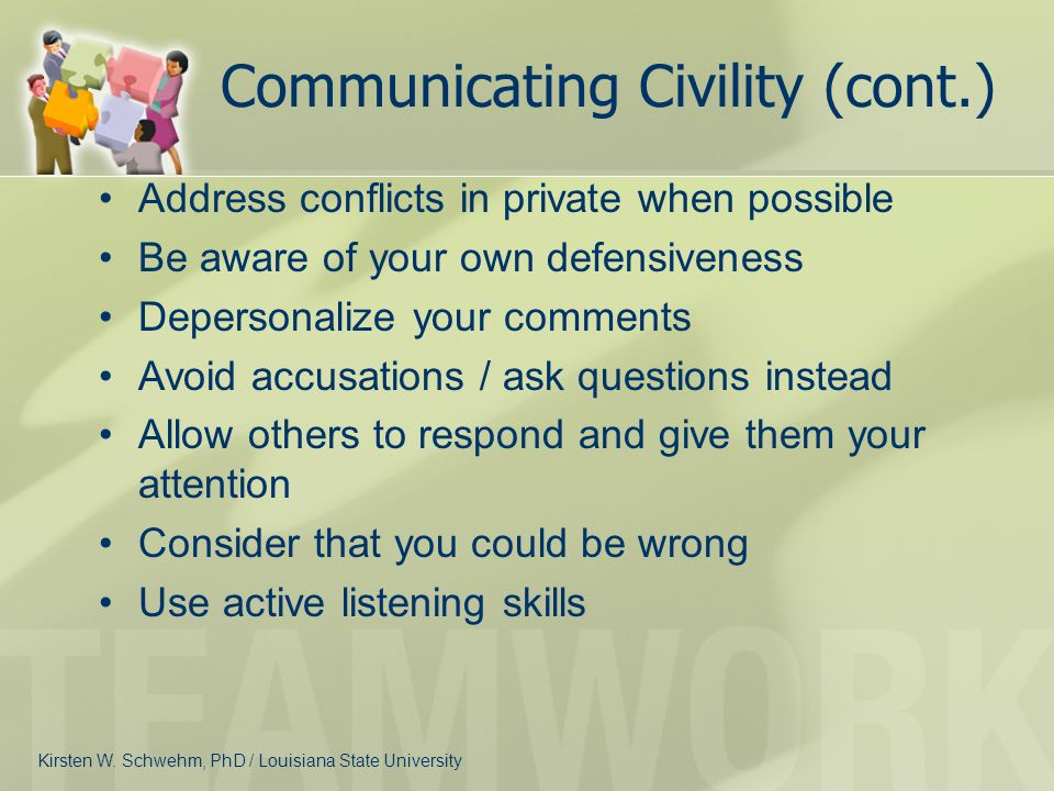 Communicating Civility (cont.)