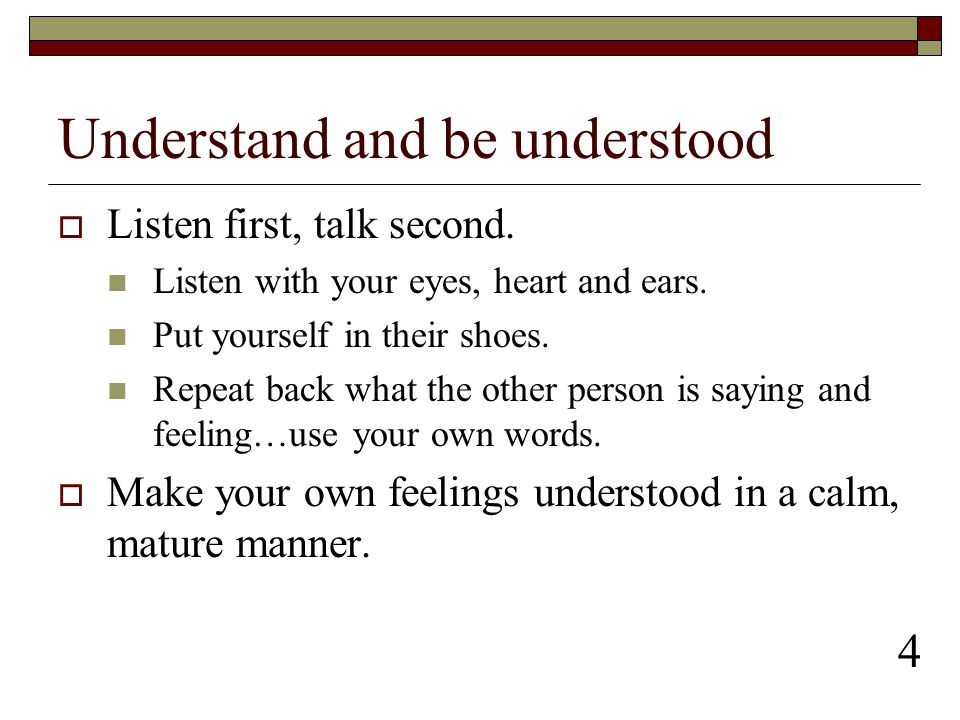 Understand and be understood