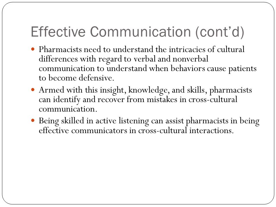 Effective Communication (cont'd)