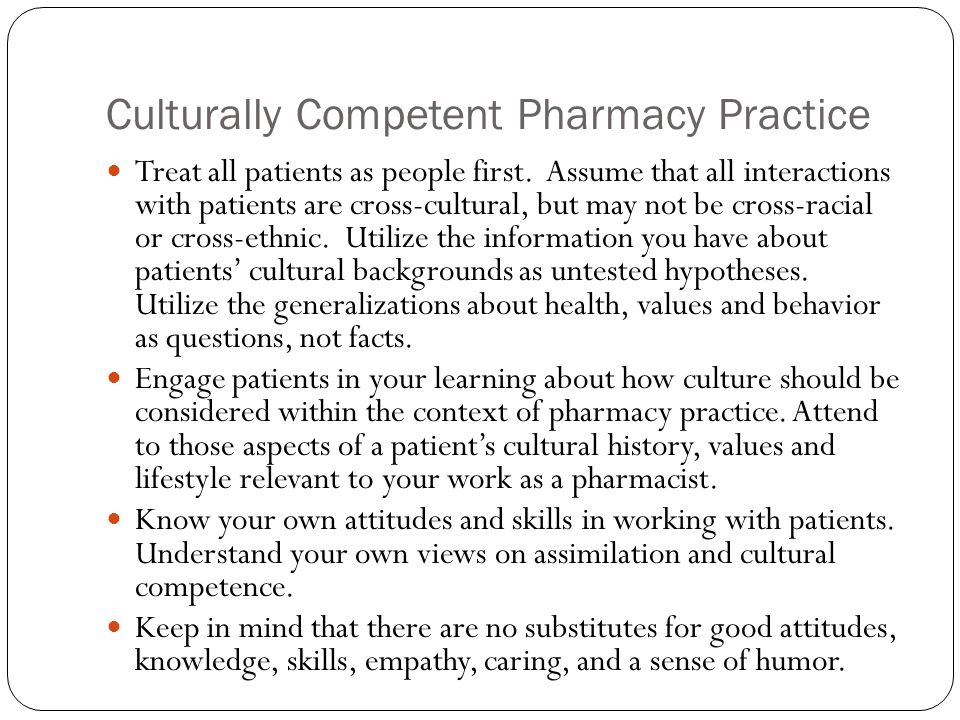 Culturally Competent Pharmacy Practice