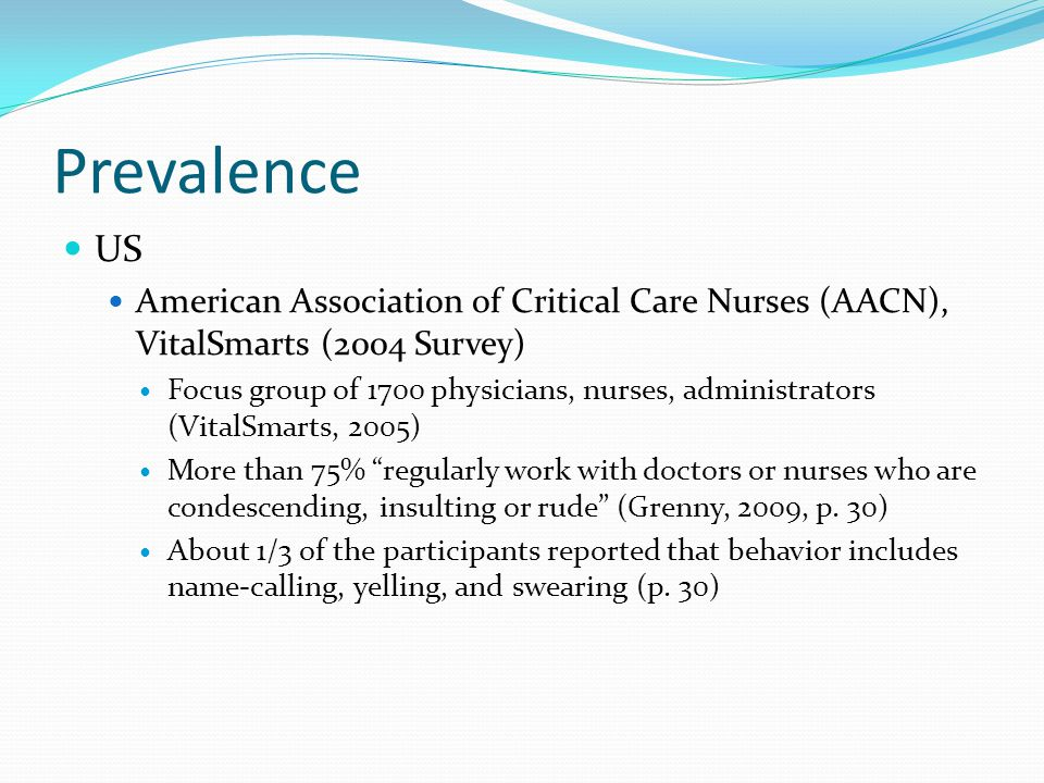 Prevalence US. American Association of Critical Care Nurses (AACN), VitalSmarts (2004 Survey)