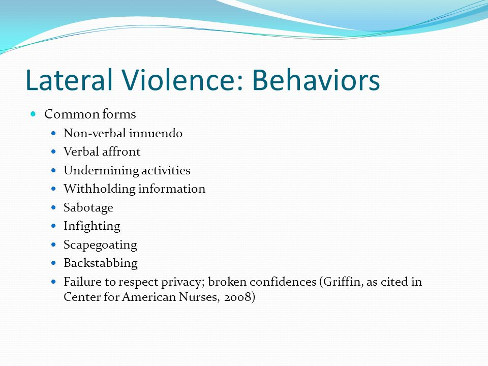 Lateral Violence: Behaviors