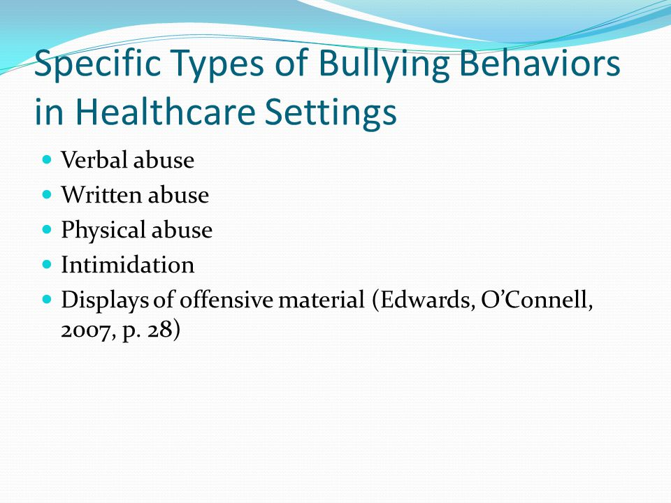 Specific Types of Bullying Behaviors in Healthcare Settings