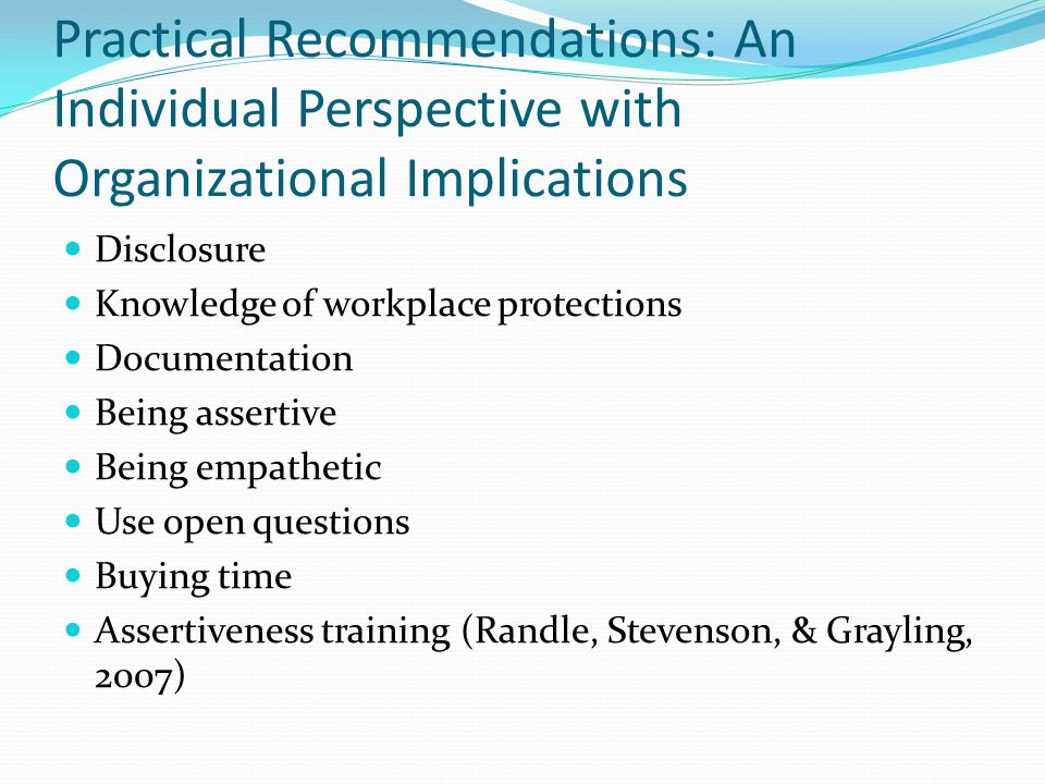Practical Recommendations: An Individual Perspective with Organizational Implications