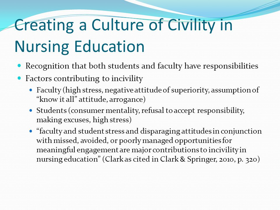 Creating a Culture of Civility in Nursing Education