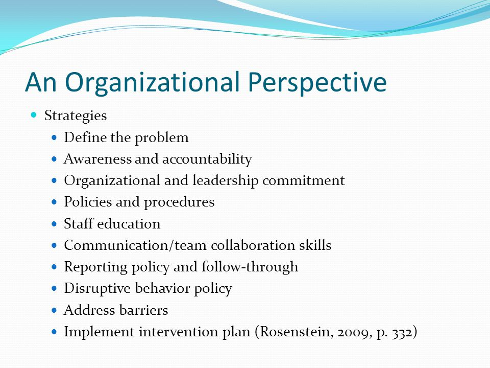 An Organizational Perspective