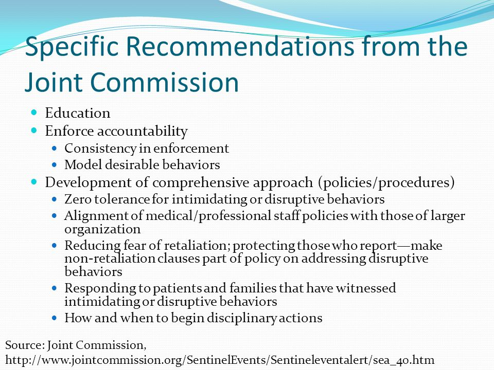 Specific Recommendations from the Joint Commission