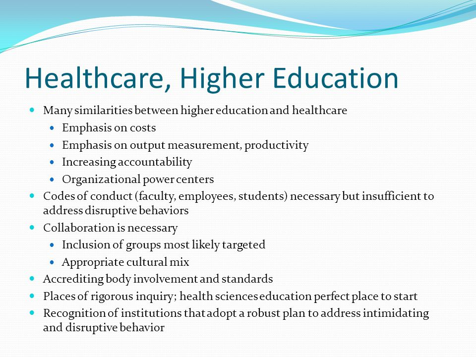 Healthcare, Higher Education