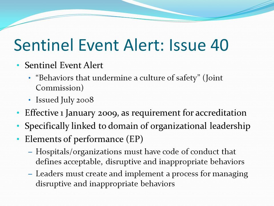 Sentinel Event Alert: Issue 40