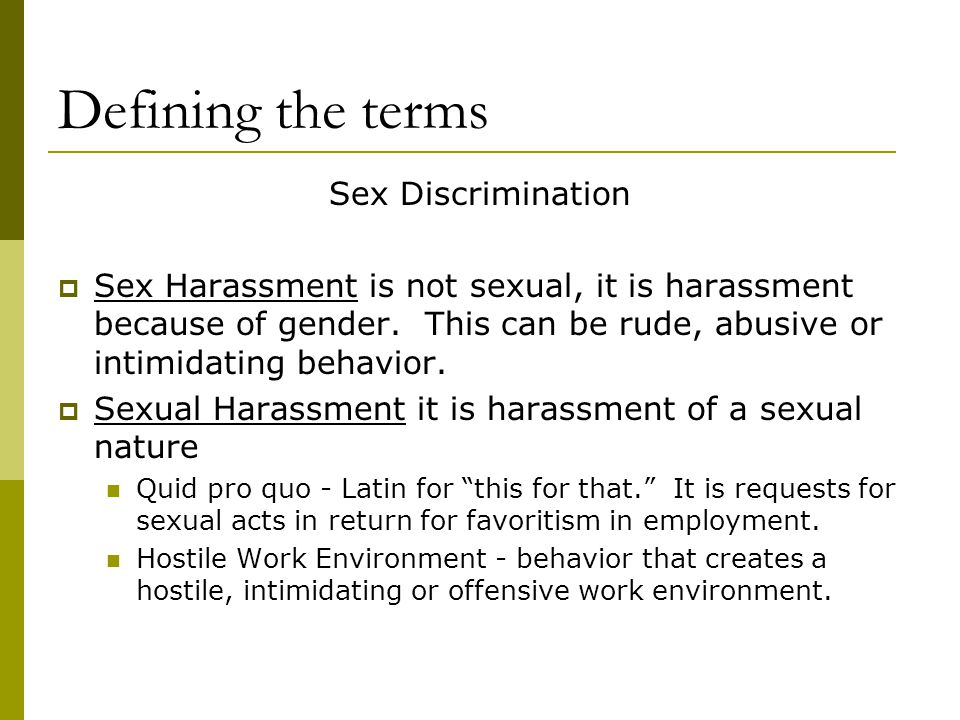 Defining the terms Sex Discrimination