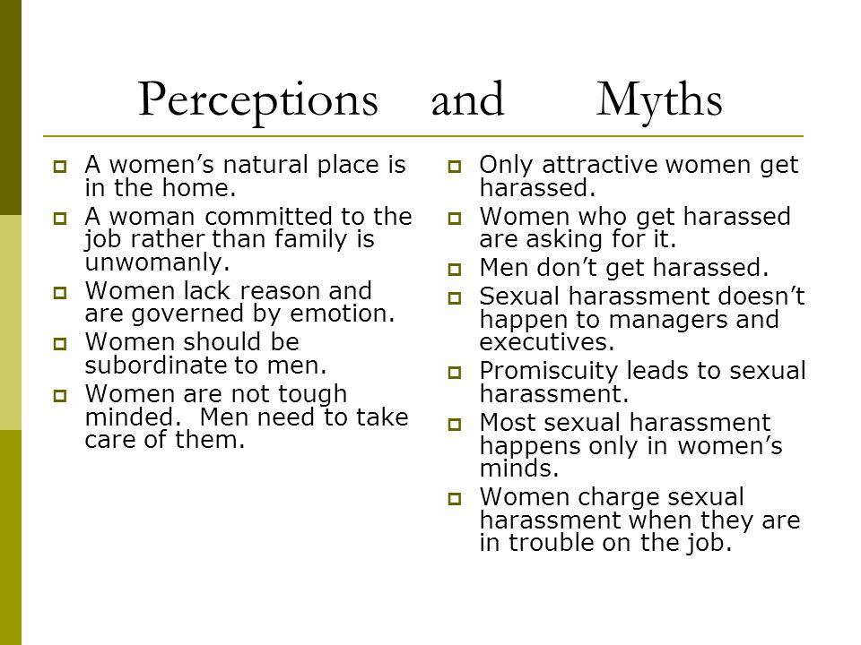 Perceptions and Myths A women's natural place is in the home.