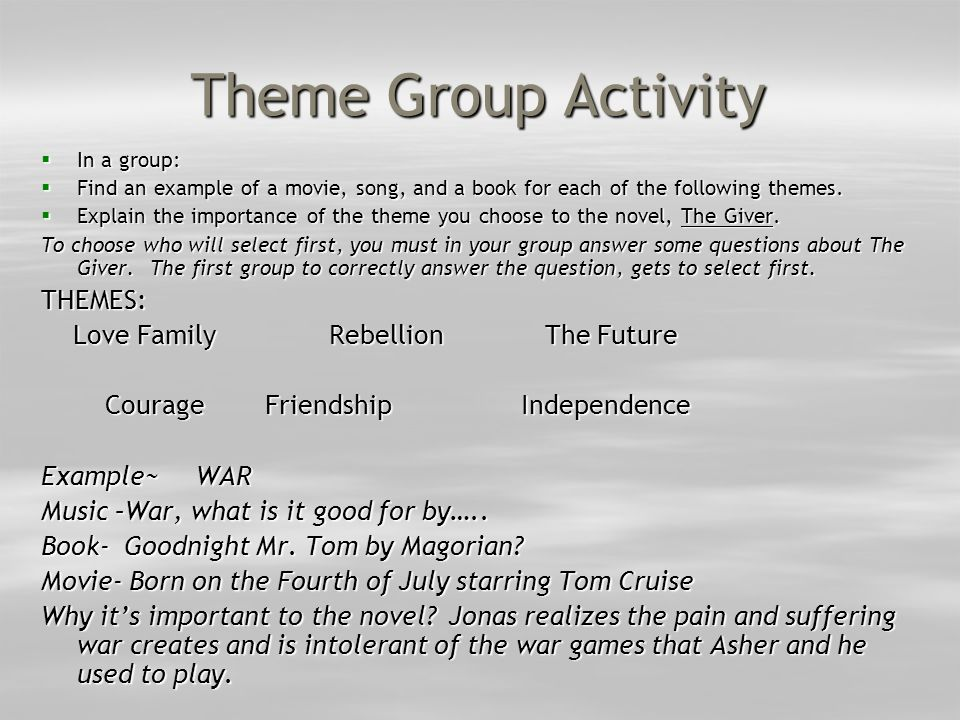 Theme Group Activity THEMES: Love Family Rebellion The Future