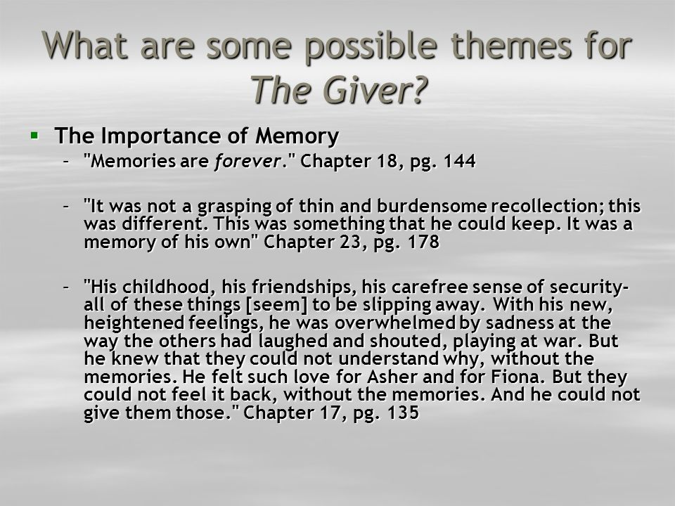 What are some possible themes for The Giver
