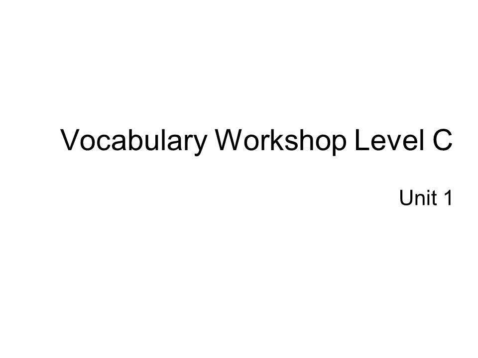 Vocabulary Workshop Level C
