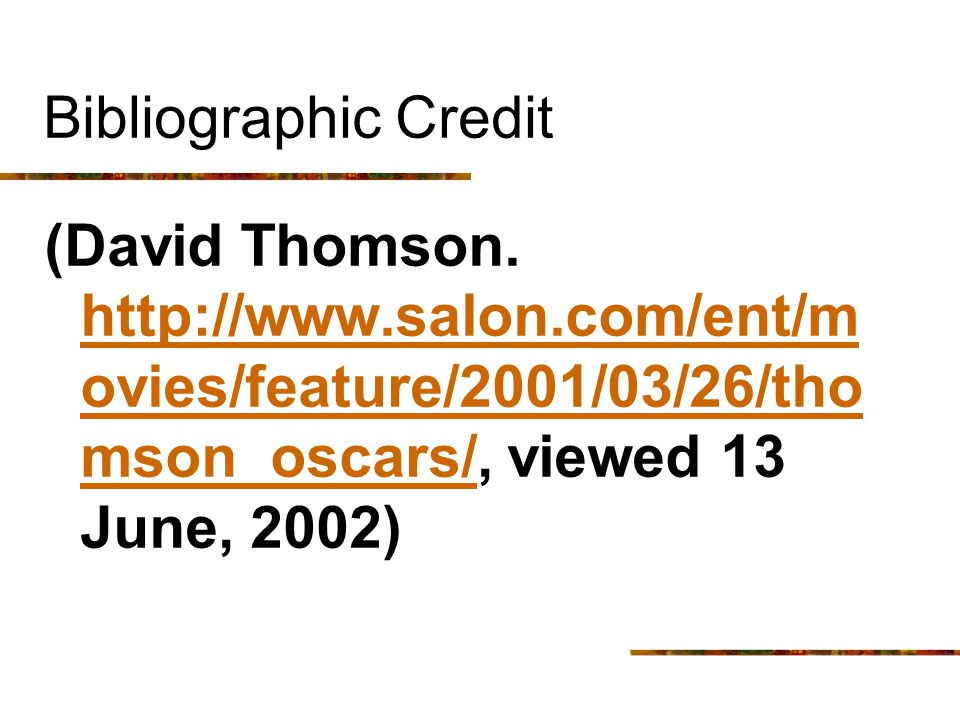Bibliographic Credit (David Thomson.
