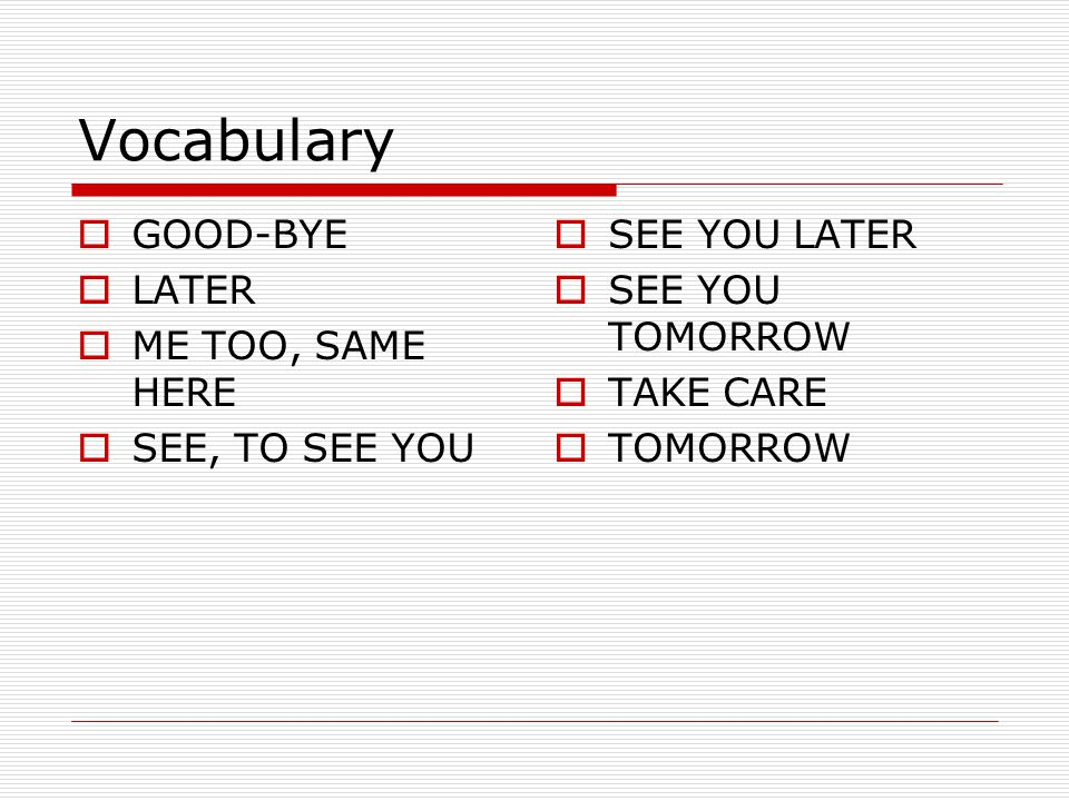 Vocabulary GOOD-BYE LATER ME TOO, SAME HERE SEE, TO SEE YOU