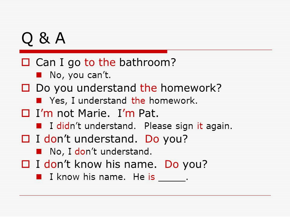 Q & A Can I go to the bathroom Do you understand the homework