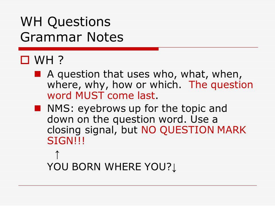 WH Questions Grammar Notes