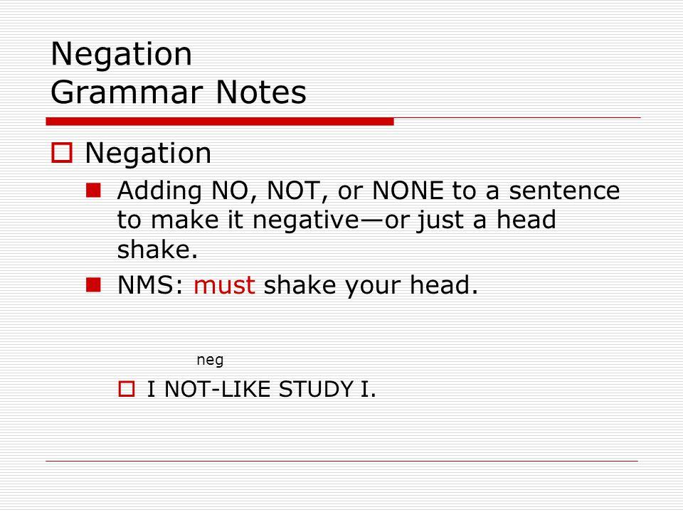 Negation Grammar Notes