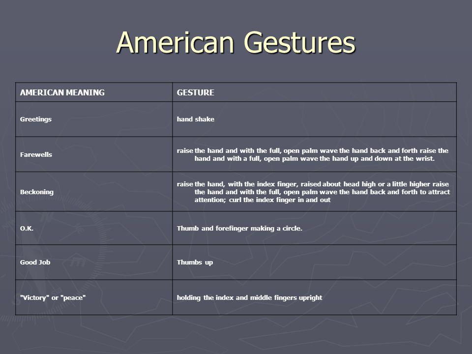 American Gestures AMERICAN MEANING GESTURE Greetings hand shake