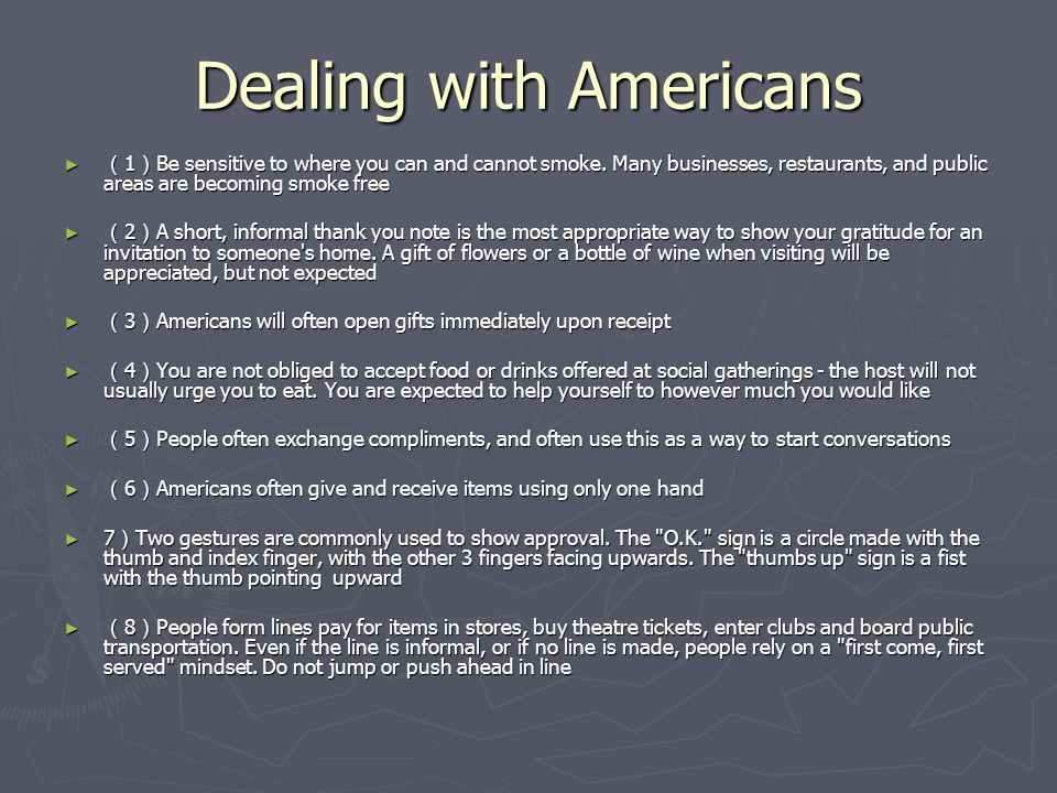 Dealing with Americans
