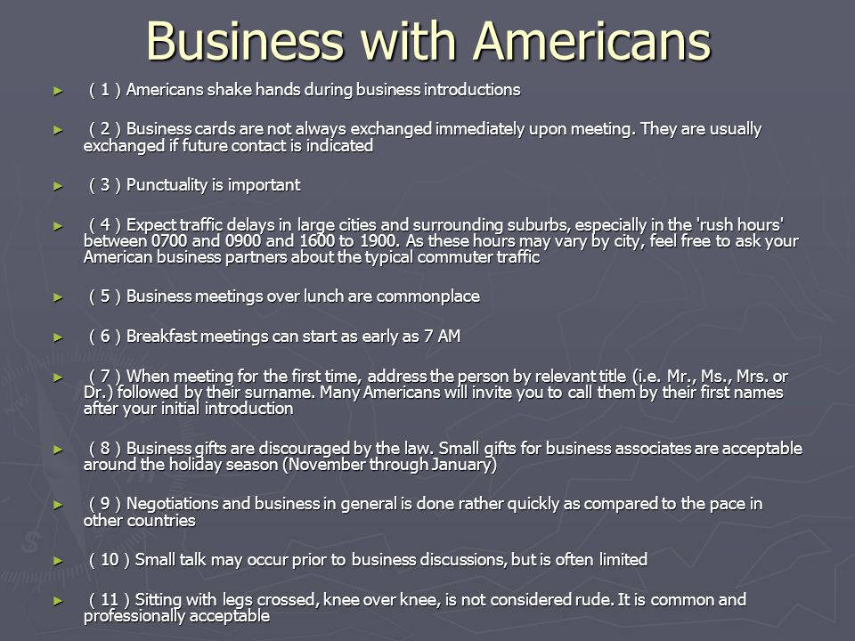 Business with Americans