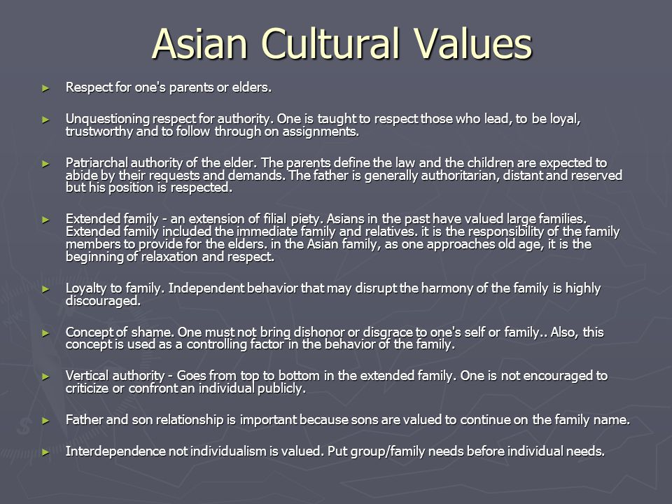 Asian Cultural Values Respect for one s parents or elders.
