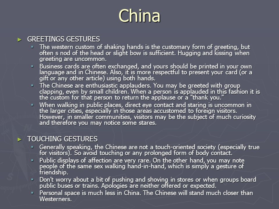 China GREETINGS GESTURES TOUCHING GESTURES
