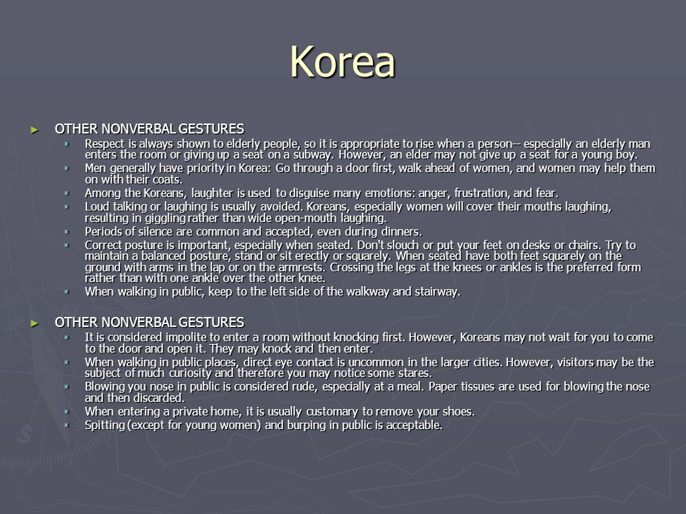 Korea OTHER NONVERBAL GESTURES