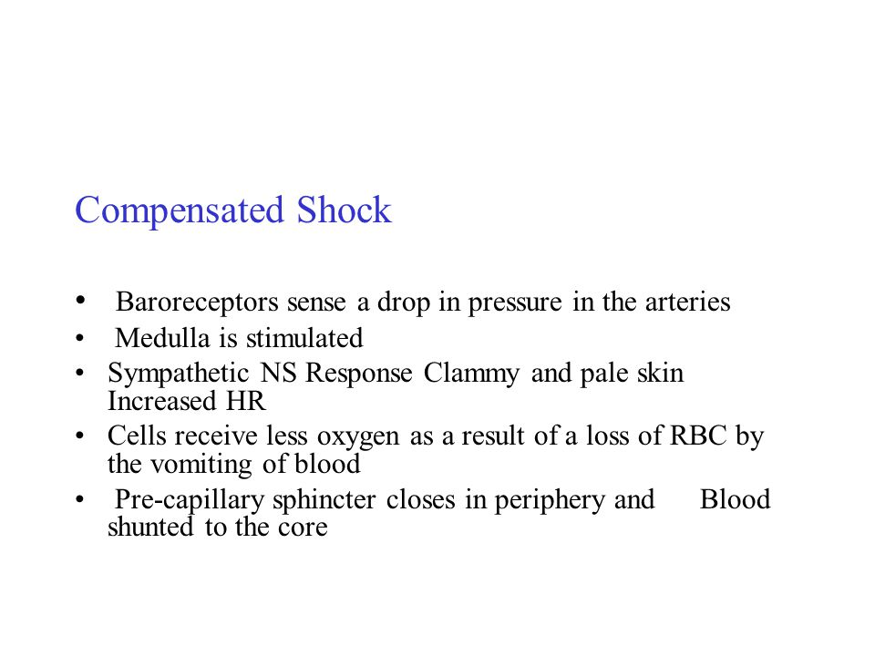 Compensated Shock Baroreceptors sense a drop in pressure in the arteries. Medulla is stimulated.