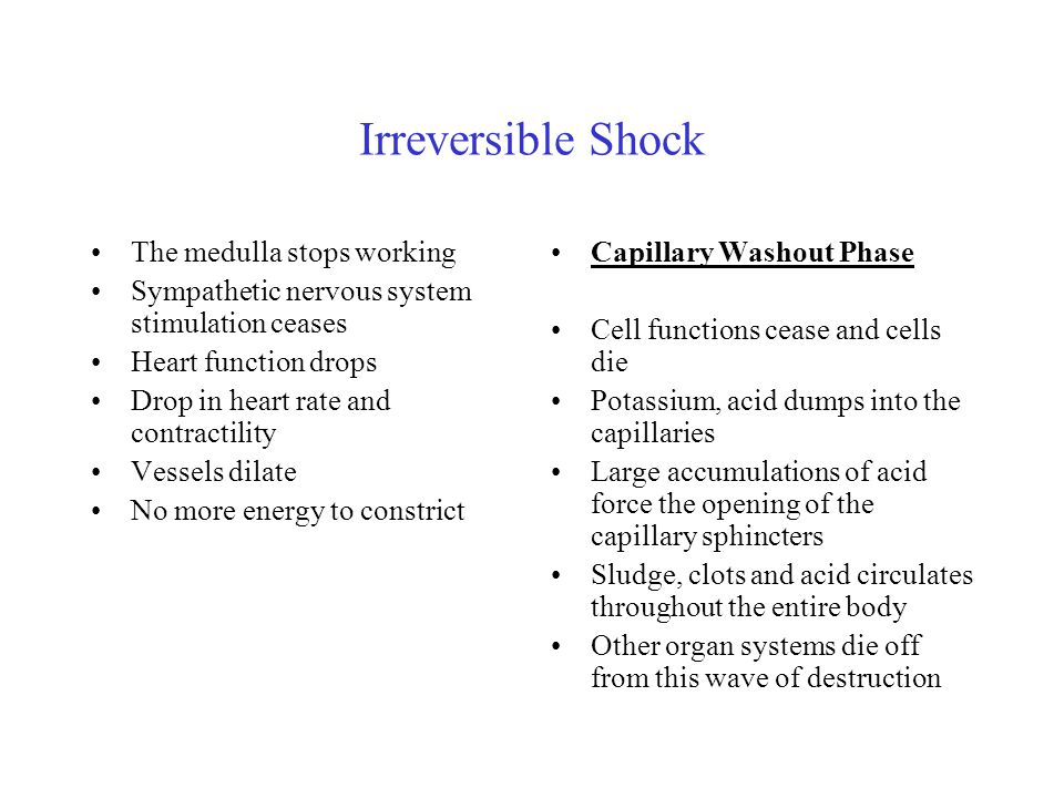 Irreversible Shock The medulla stops working