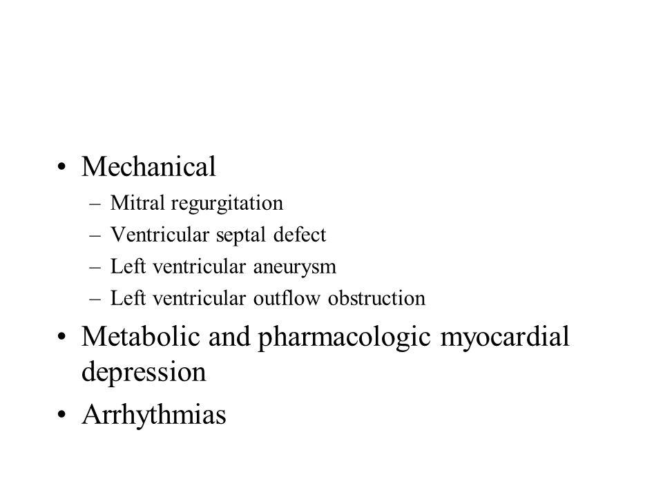 Metabolic and pharmacologic myocardial depression Arrhythmias