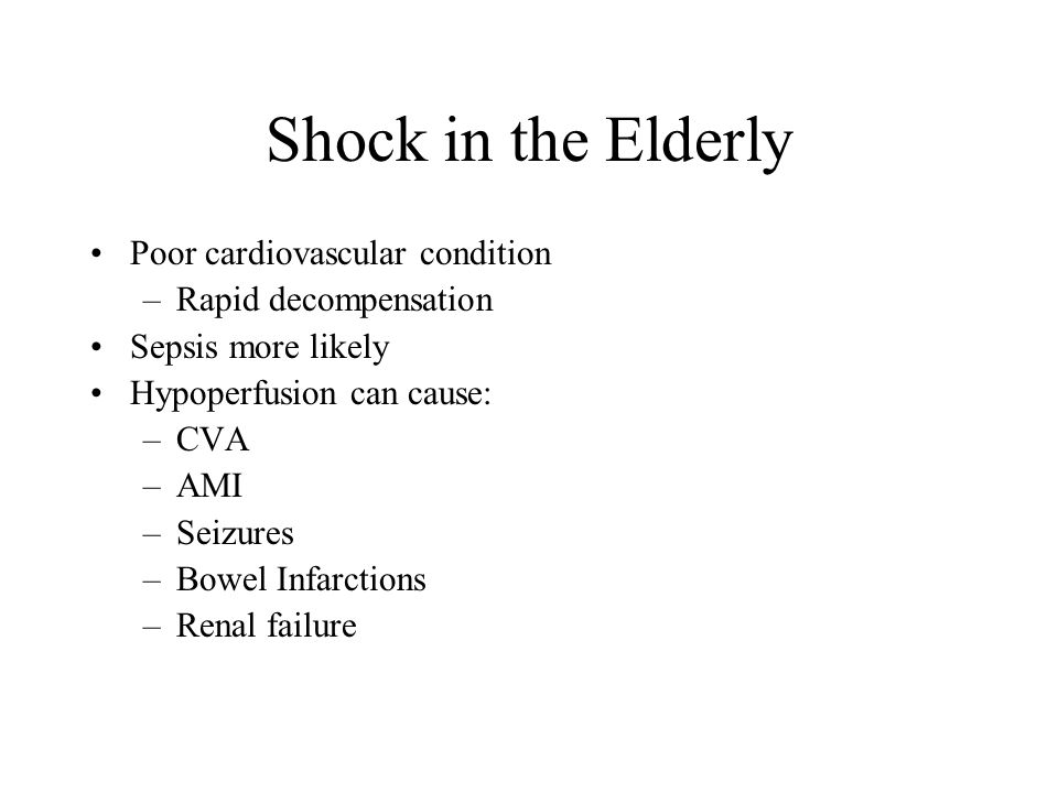 Shock in the Elderly Poor cardiovascular condition
