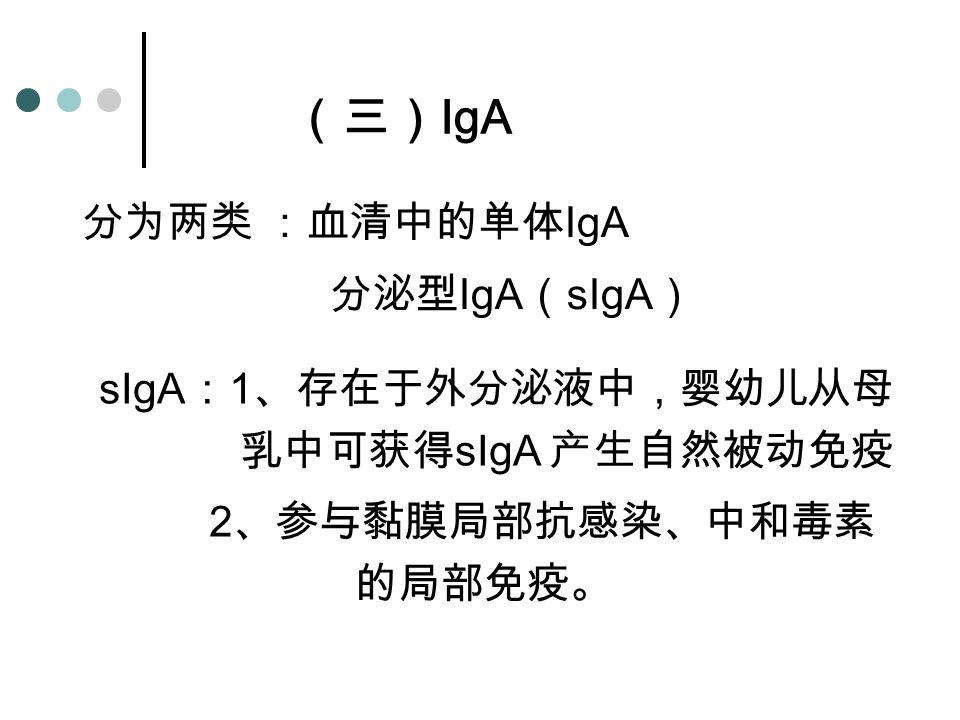 2、参与黏膜局部抗感染、中和毒素的局部免疫。