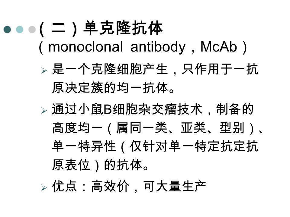 (二)单克隆抗体 (monoclonal antibody,McAb)